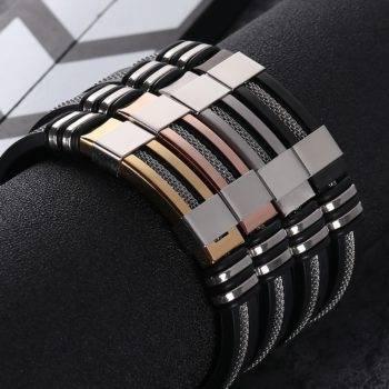 PULSERA Stainless Steel Silicone Black Bracelet Men Men Men Bracelets 8d255f28538fbae46aeae7: Black Gun Plated|Gold-color|Rose Gold Color|Silver Plated