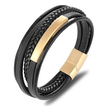 XQNI Classic Genuine Leather And Stainless Steel Bracelet For Men Men Men Bracelets 8d255f28538fbae46aeae7: Black|Gold|Steel