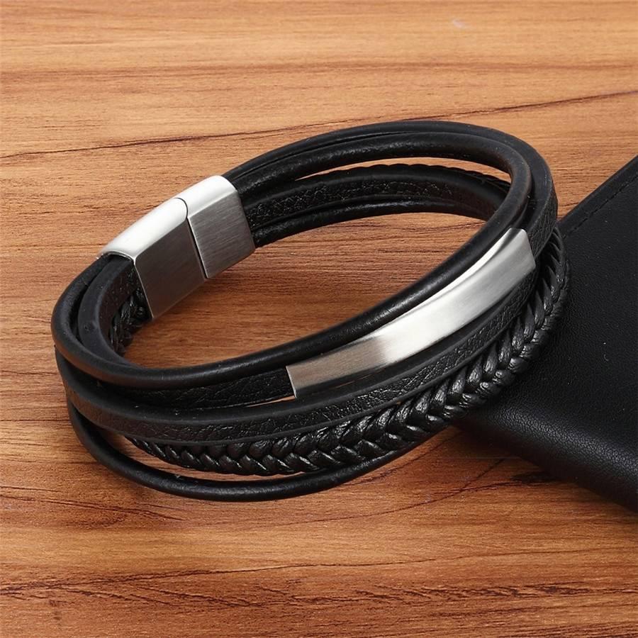 XQNI Classic Genuine Leather And Stainless Steel Bracelet For Men Men Men Bracelets 8d255f28538fbae46aeae7: Black|Gold|Steel