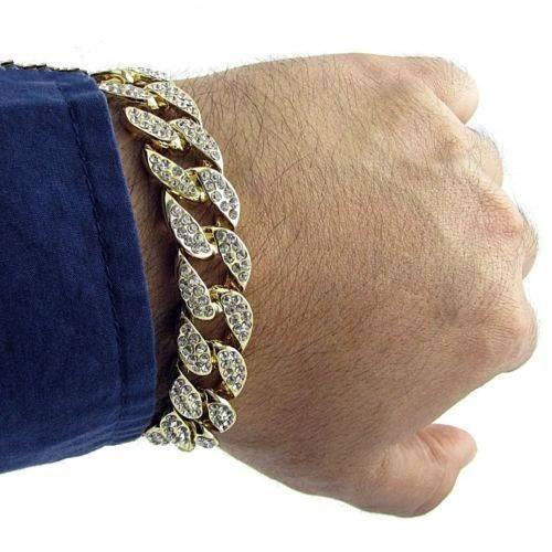 KNOX – Men's Luxury Iced Out Rhinestone Bracelet Men Men Bracelets 8d255f28538fbae46aeae7: Gold|Silver