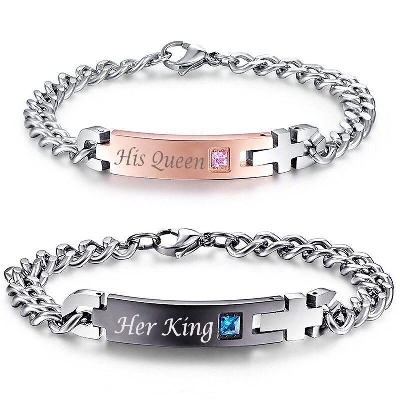 TIAMO – Her King and His Queen Couple Bracelet Bracelets Men Men Bracelets 1afa74da05ca145d3418aa: Black Couple Gold