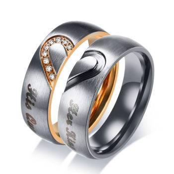 EMBER – Cute Heart Printed Stainless Steel Couple Rings Men Men Rings Rings size: 10|11|12|5|6|7|8|9