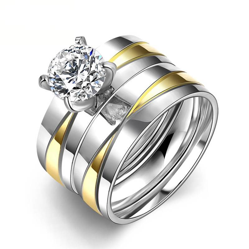 FOREVER – Exquisite Sparkling Stainless Steel Couple Rings (Pair) Men Rings Rings size: 10|11|6|7|8|9