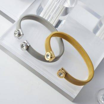 ROMAN – Open Cuff Stainless Steel Crystal Bangles Bangles 8d255f28538fbae46aeae7: 10mm gold color|10mm silver color|8mm gold color|8mm silver color