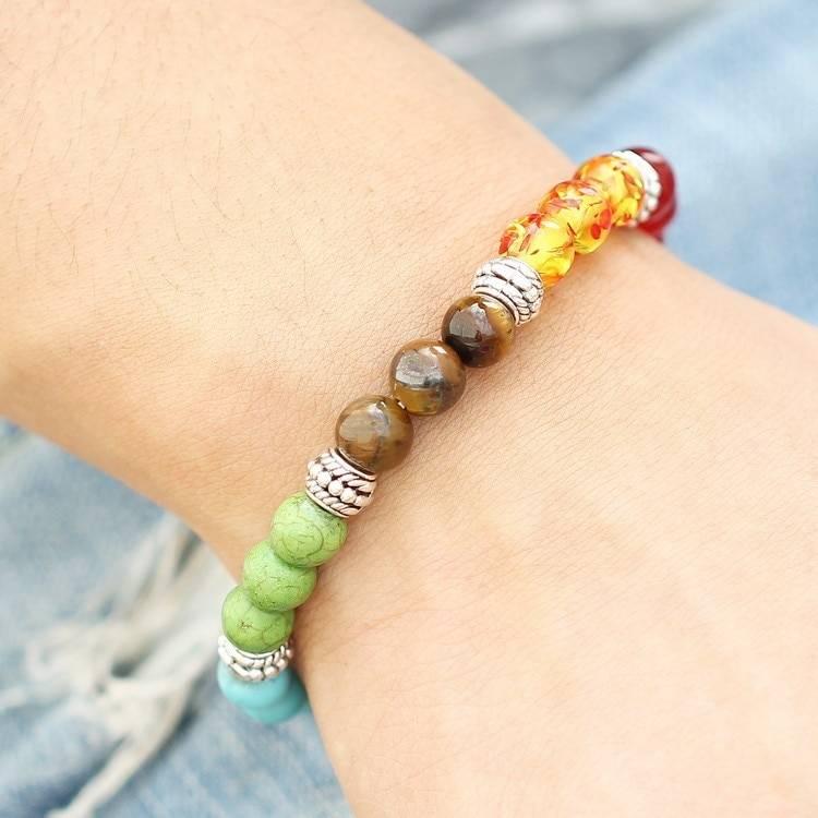 Multicolor Natural Stone Chakra Bracelet