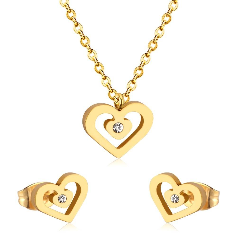 Nora – Stainless Steel Cubic Zirconia Heart Jewellery Set Jewellery Sets 8d255f28538fbae46aeae7: Gold Silver
