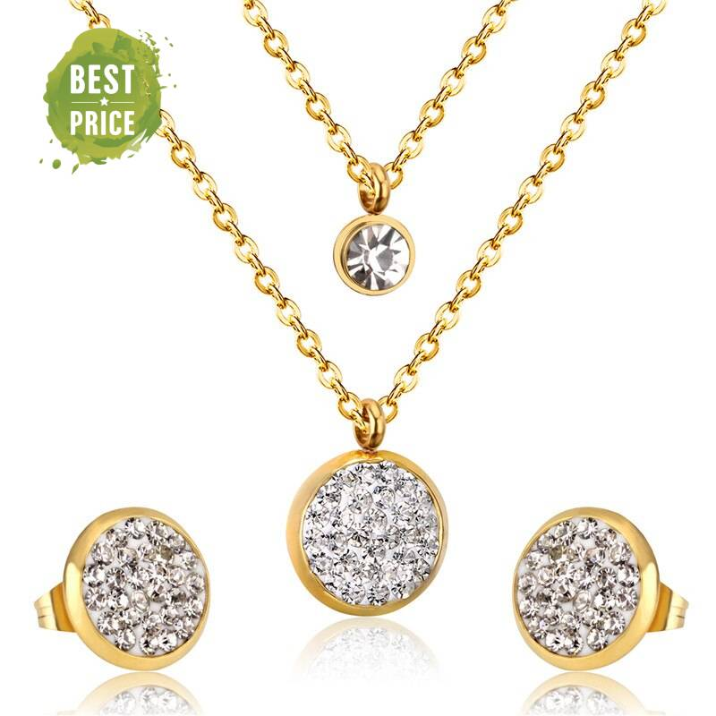 ANET -Stainless Steel Cubic Zirconia Layerred Necklace Set Jewellery Sets 8d255f28538fbae46aeae7: Gold|Silver