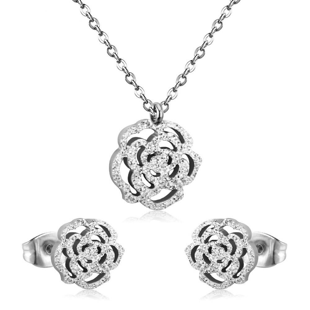 VERA – Stainless Steel Flower Crystal Jewellery Set Jewellery Sets 8d255f28538fbae46aeae7: Frosted Gold|Frosted Silver|Gold