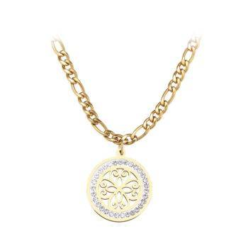 VEE – Stainless Steel Vintage Pattern Crystal Necklace Necklaces Pendant Necklace 8d255f28538fbae46aeae7: Gold-color|Silver