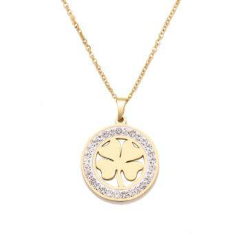 ALICE – Stainless Steel Clover Crystal Necklace Necklaces Pendant Necklace 8d255f28538fbae46aeae7: Gold-color|Silver
