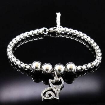 RUTH – Stainless SteelCat Charm Bead Bracelet Bracelets color: A|B|C|D