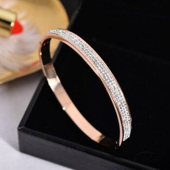 RUNA – Luxury Shiny Crystal Stainless Steel Bangle Bangles Setting Type: Tension Mount