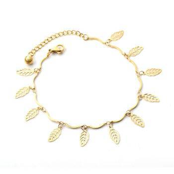 LOLA – Stainless Steel Leaf Chains Anklet Anklets 8d255f28538fbae46aeae7: Gold