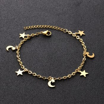 DIANA – Stainless Steel Star and Moon Anklet Anklets 8d255f28538fbae46aeae7: Gold