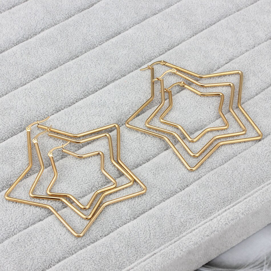 LISA – Star-Shaped Hoop Earrings Earrings Hoop Earrings 8d255f28538fbae46aeae7: 1795 Gold 42mm|1795 Gold 60mm|1795 Gold 80mm