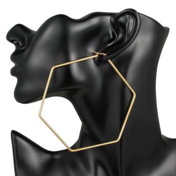 AMELIA – Stainless Steel Large Hexagon Earrings Earrings Hoop Earrings 8d255f28538fbae46aeae7: 1793 Gold 40mm|1793 Gold 60mm|1793 Gold 79mm