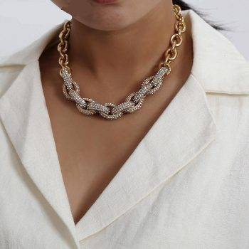 Crystal Chunky Chain Necklace For Women – AMANDA Choker Necklaces 8d255f28538fbae46aeae7: Gold-color|silver color