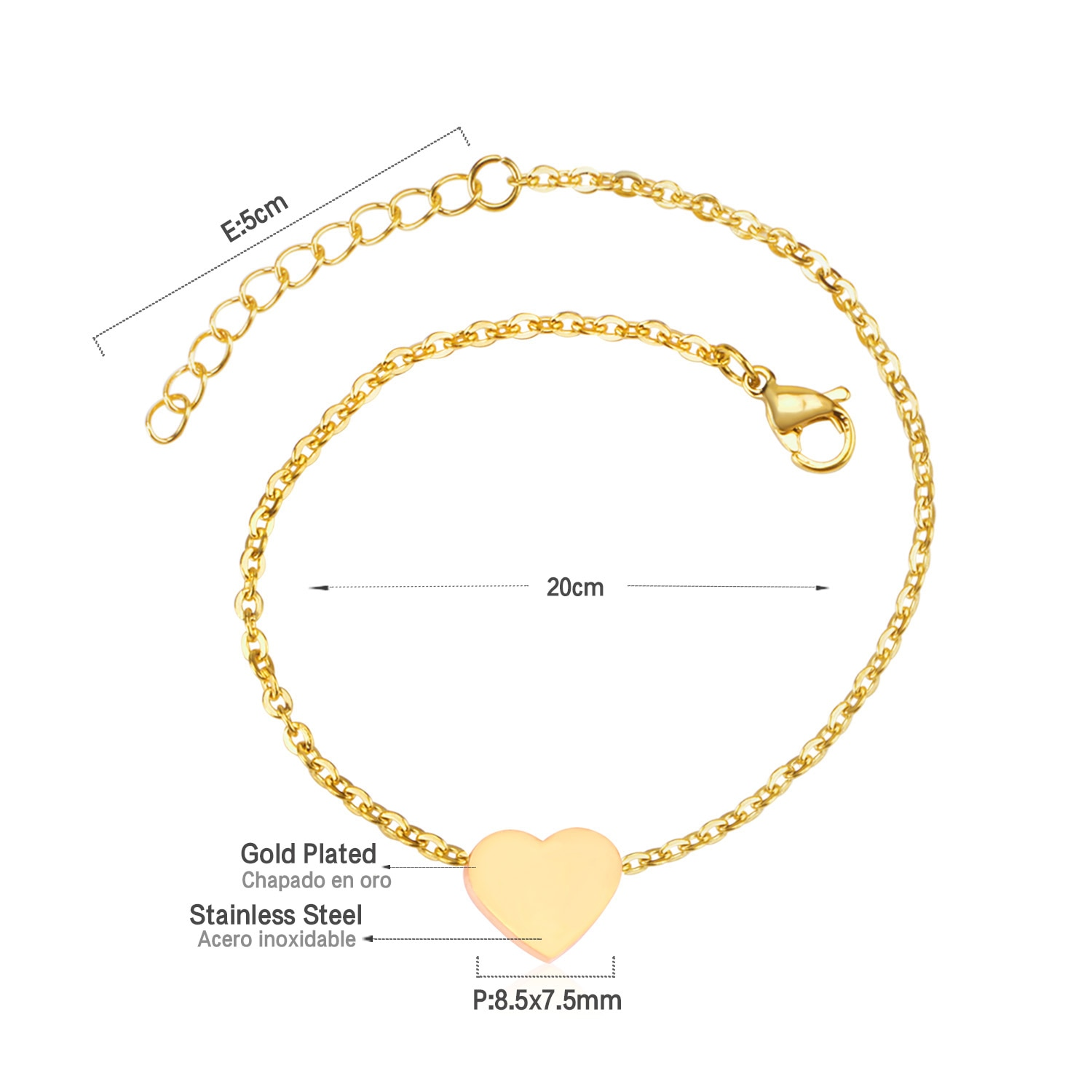 ZARA – Romantic Heart Shaped Stainless Steel Anklet Anklets 8d255f28538fbae46aeae7: Gold|Silver