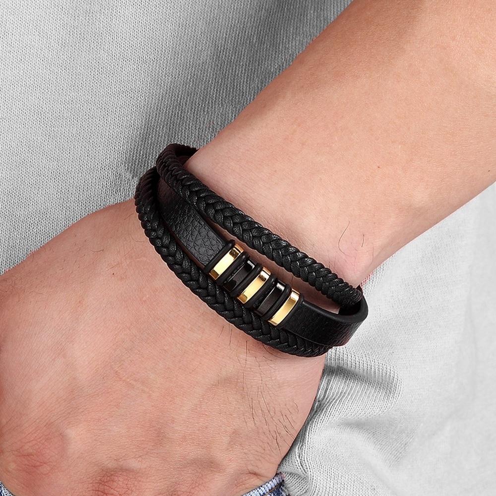 JAS – Genuine Leather and Stainless Steel Bracelet for Men Men Men Bracelets 8d255f28538fbae46aeae7: Black with Steel|Gold with Black|Gold with Steel|Steel