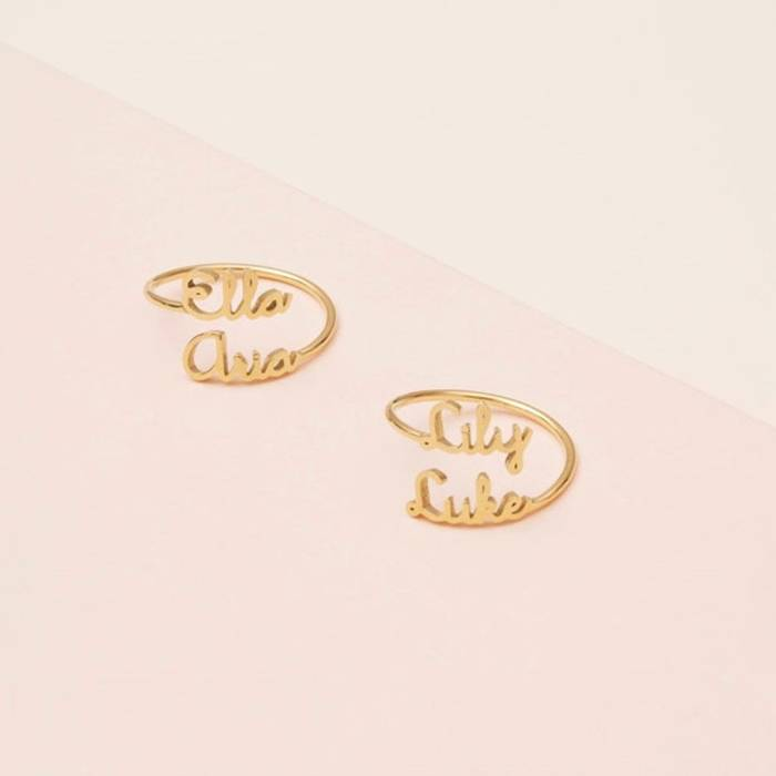 Double Name Personalized Ring