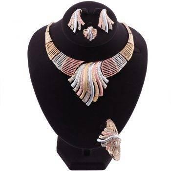 AMAL – Multicolor Crystal Wedding Jewellery Set Wedding Jewellery Set 8d255f28538fbae46aeae7: Gold|multi|Silver