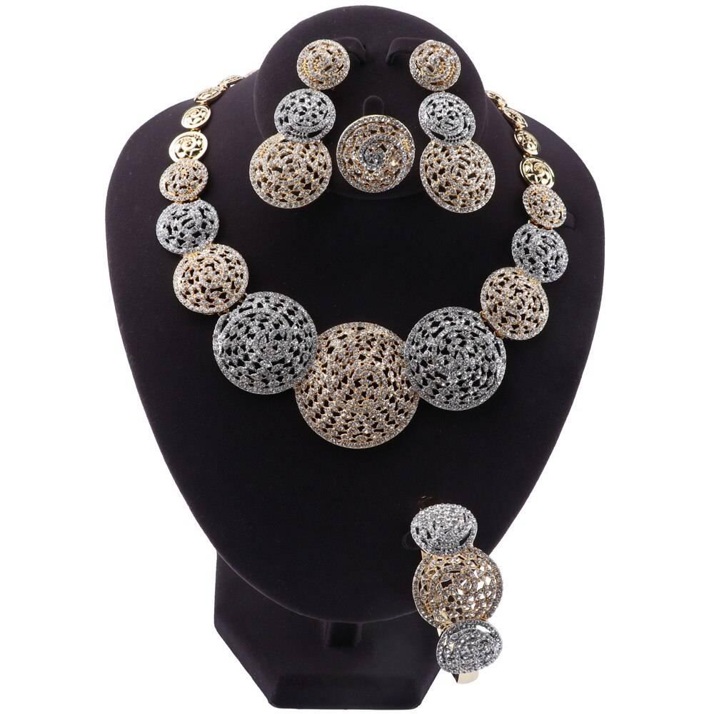 HYAT – Top-Quality Two-Tone Wedding Jewellery Sets Wedding Jewellery Set Brand Name: OUHE