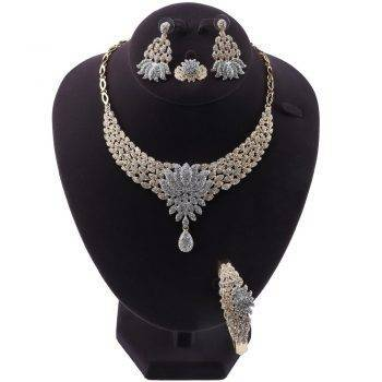 IDA – Exquisite Flower Shape Crystal Wedding Jewellery Set Wedding Jewellery Set Brand Name: OUHE