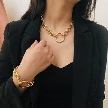 Geometric Cuban Choker Necklace and Bracelet Set – MIMI Bracelets Choker Jewellery Sets Necklaces 8d255f28538fbae46aeae7: Golden|Golden|Golden Set|Silver|Silver|Silver Set