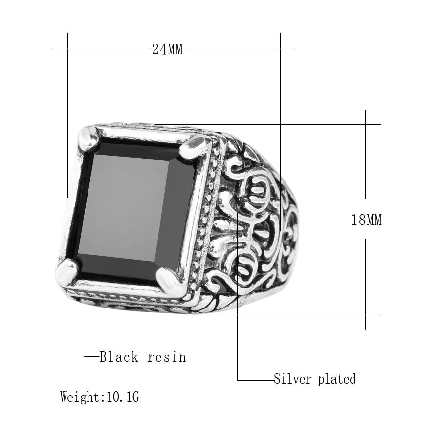 Men's Black Filled Silver Resin Ring 2ced06a52b7c24e002d45d: 10|11|7|8|9
