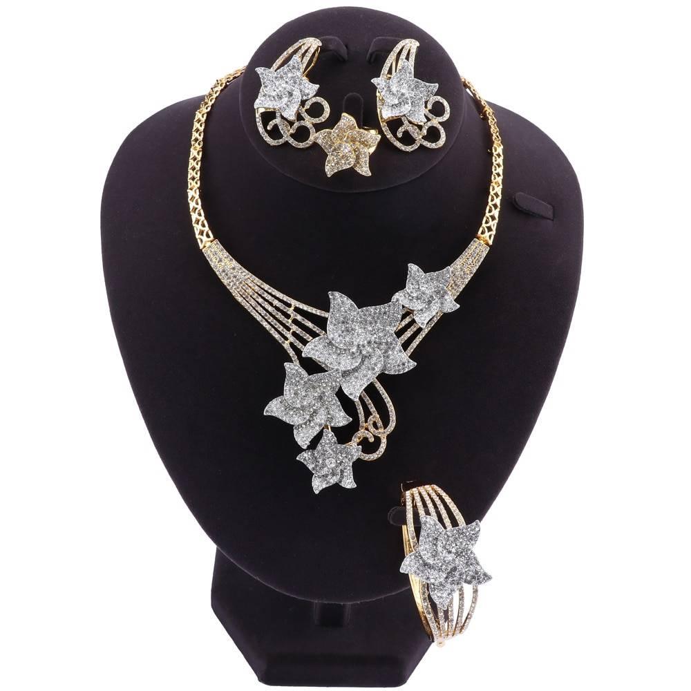 Crystal Dubai-Style Wedding Jewellery Set – FAIZA Jewellery Sets Wedding Jewellery Set 8d255f28538fbae46aeae7: Gold|multi|Silver