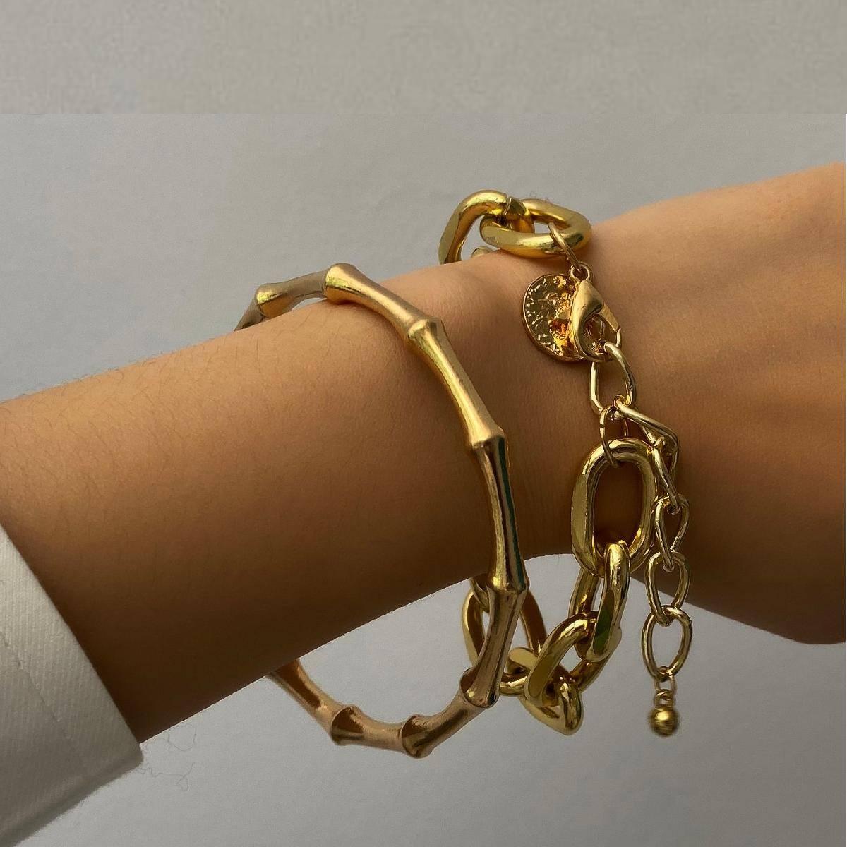 Punk Bamboo Chunky Chain Bracelet 2Pcs/Set – RANTI Bangles Bracelets 8d255f28538fbae46aeae7: Gold Set|silver color