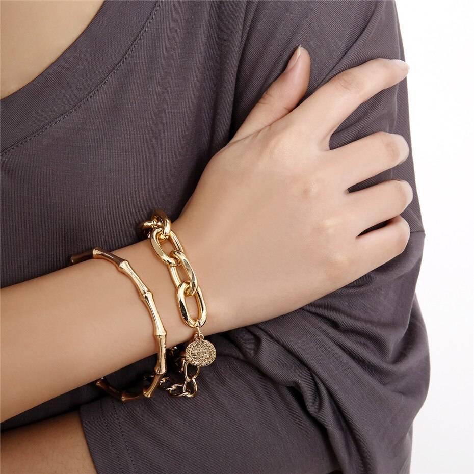 Punk Bamboo Chunky Chain Bracelet Set – RANTI Bangles Bracelets 8d255f28538fbae46aeae7: Gold Set|silver color