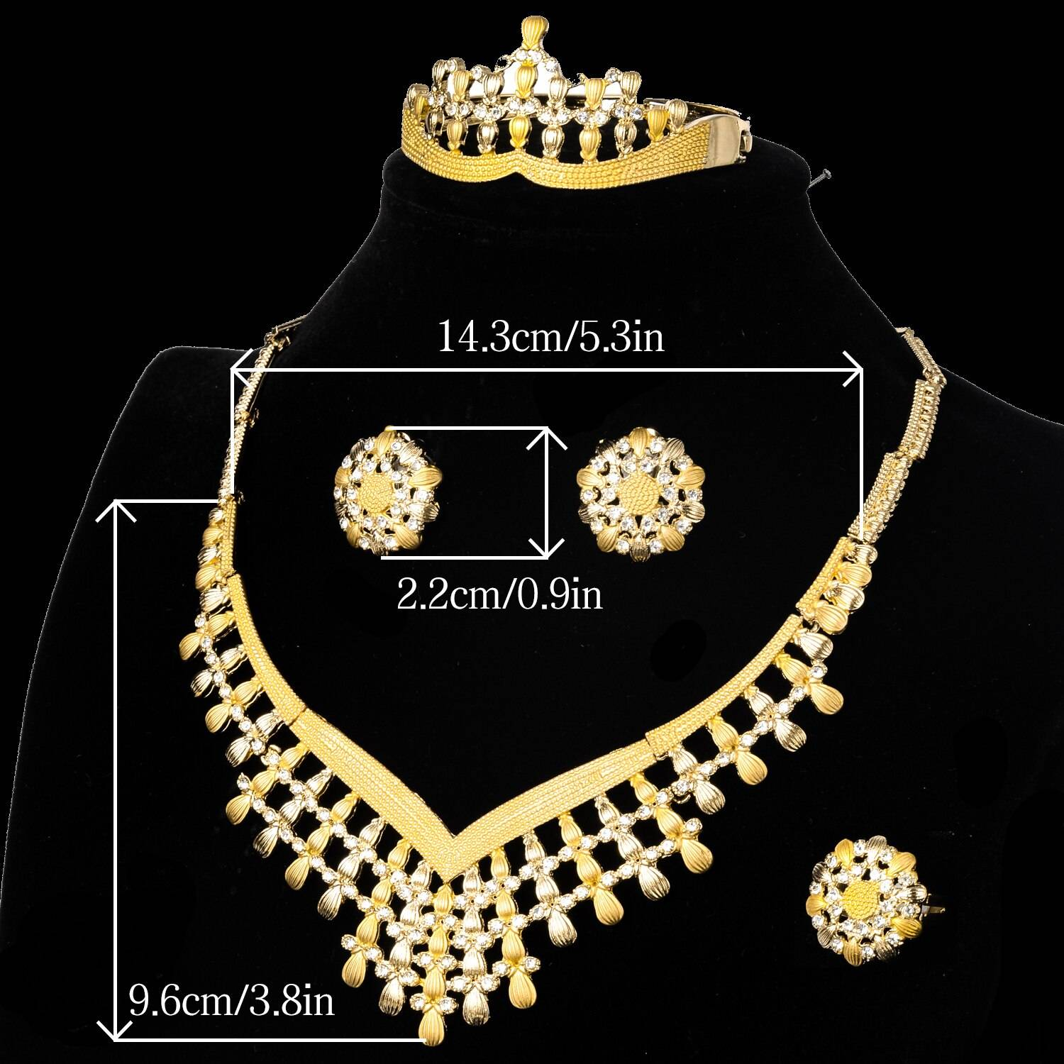 Diana baby Jewelry Sets Bohemia Zircon Bridal Wedding Earrings Necklace Bracelet Ring For Women Lady Cute Romantic Party Gift Wedding Jewellery Set 8d255f28538fbae46aeae7: Jewelry Sets