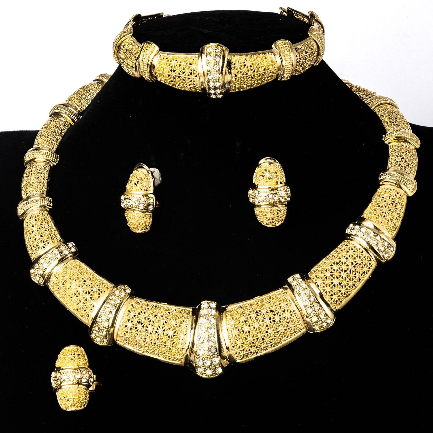 Diana baby Jewelry Sets New Fashion Gold Planted Bridal Zircon Earrings Necklace Bangle Ring For Women Classic Trendy Gift Wedding Jewellery Set Metal Color: Jewelry Sets
