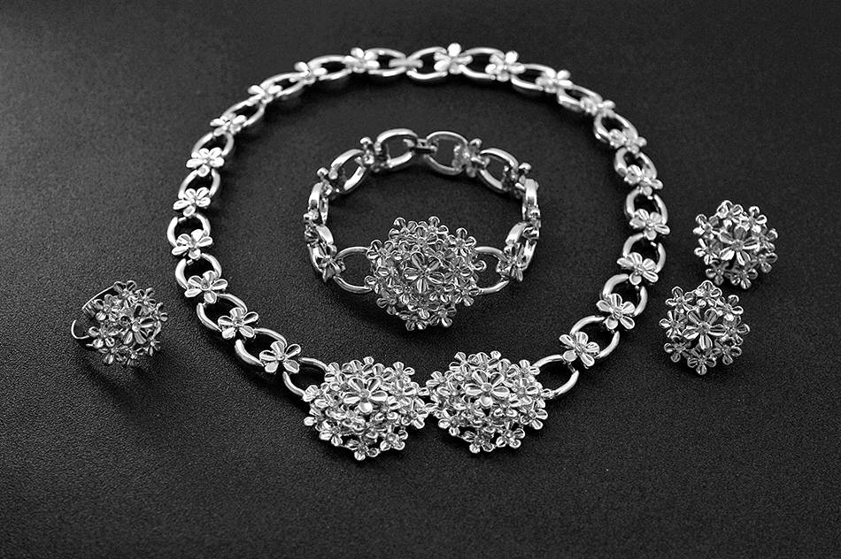 Romantic Cubic Zirconia Round Floral Jewellery Set Jewellery Sets Wedding Jewellery Set 8d255f28538fbae46aeae7: Jewelry Set G Jewelry Set S